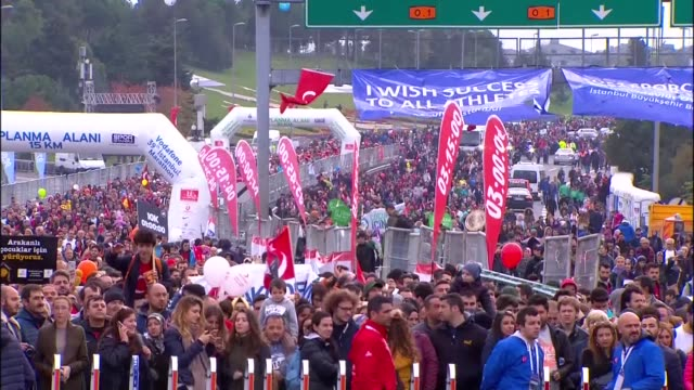 "Thousands of people take part in the Istanbul Marathon where this year's theme is ""We are running for the future of our children"" on November 12 2017..."