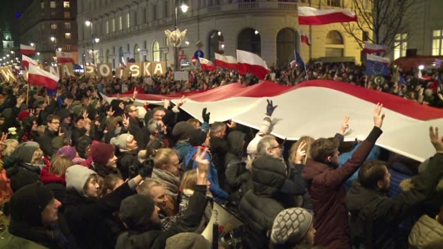 Thousands of Poles rally across the country to denounce the latest controversial court reforms pushed by the ruling conservatives which critics say...