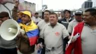 Thousands of teachers marched in Bogota Colombia on Wednesday calling for better working conditions CLEAN Colombian teachers protest over working on...