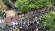 Thousands participate in the 'March for Science' in Philadelphia PA on April 22 2017 Protestors march over Market Street in Center City Philadelphia...