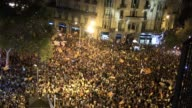 Thousands respond to the call to protest sent out by Catalan separatists gathering in front of regional government buildings in Barcelona after...