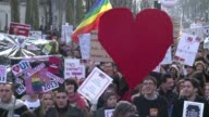 Thousands took to the streets in Paris as pro gay marriage marchers showed their support for a controversial bill on same sex marriage and adoption...