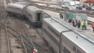 WGN Three Amtrak train cars derailed when a train carrying about 200 passengers from the East Coast arrived in Chicago on March 27 2017