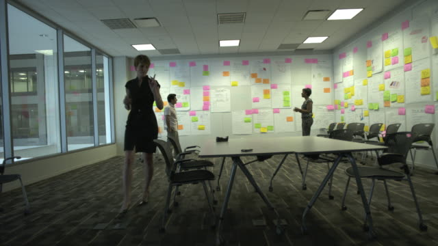 WS Three coworkers brainstorm in creative conference room, Chicago, Illinois, USA