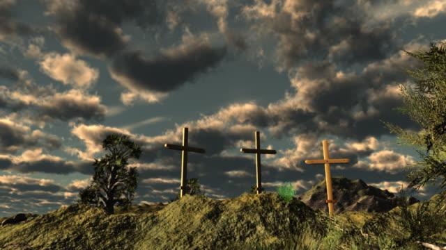 Three crosses on Calvary outside Jerusalem