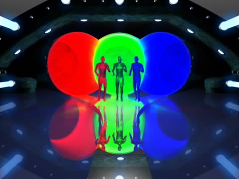 WS CGI Three different colored computerized figures merging in tunnel and making one silver figure