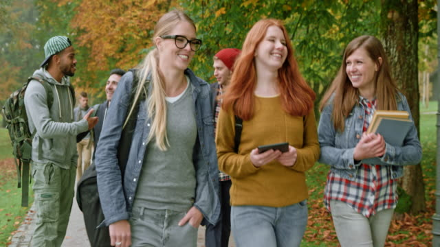 Three female Caucasian students talking while walking through the park on a fall morning