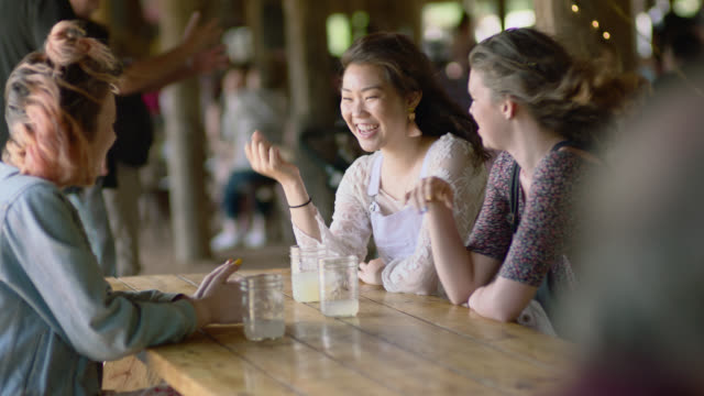 WS. Three girl friends talk and laugh in windy picnic shelter.