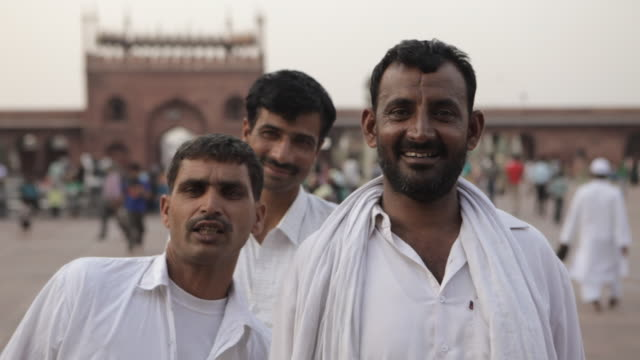 MH Three Men Smiling in Font of Jama Masjid Mosque / India