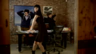MS, ZI, ZO, Three people dancing in office, Brooklyn, New York City, New York State, USA