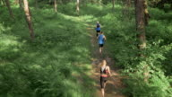AERIAL Three people running on a forest path