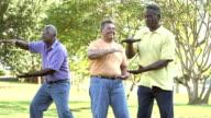 Three senior men trying to do tai chi in the park