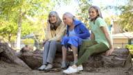 WS Three senior women looking at smartphone / Los Angeles, California, USA