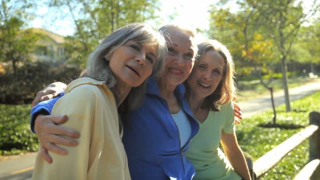 MS ZO Three senior women smiling and posing / Los Angeles, California, USA