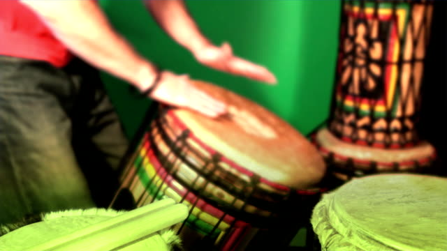 Three (3) short loopable percussion drumming sequences