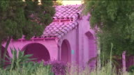 KTLA Three singlefamily homes that are set for demolition have been painted a screaming shade of hot pink in an art project installed in the MidCity...