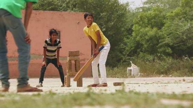 Three teenage boys playing cricket, Haryana, India