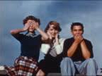 1953 three teenagers in 'See No Evil, Hear No Evil, Speak No Evil' pose