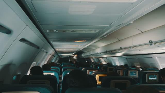 Three videos of plane cabin in 4K