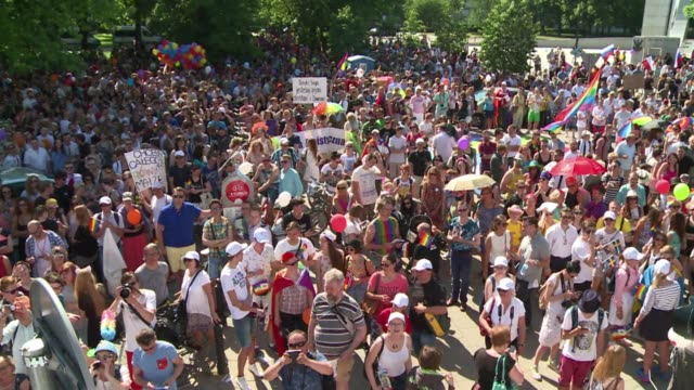 Three weeks after electing a new Catholic conservative president around 20000 people takes part in the 15th march for equality in the streets of...
