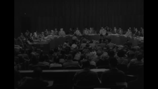 Three wide shots of Security Council meeting as SOT Warren Austin US Ambassador to UN speaks about Communist China's support of North Korean...