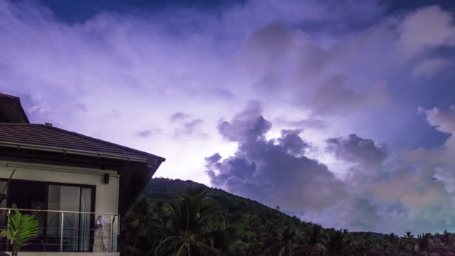 Thunderstorm over the house time lapse 4k
