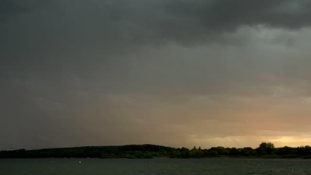 Thunderstorm with lightning over lake Ammersee, Inning Stegen, Fuenfseenland, Upper Bavaria, Bavaria, Germany