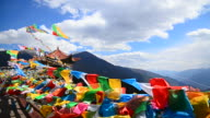 Tibetan Holy Prayer Flags on High Mountain in Yunnan, China