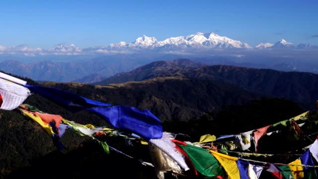 Tibetansk bön flagga eller Lung ta och Kangchenjunga hög bergskedja Visa