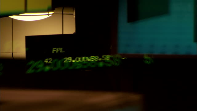 Ticker symbols and stock quotes race across the electronic ticker tape at the New York Stock Exchange. Available in HD.