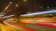 4K : Tiimelapse traffic on the bridge in the night, Thailand