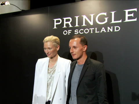 Tilda Swinton and guest at the Pringle of Scotland London Fashion Week S/S 2010 at London England