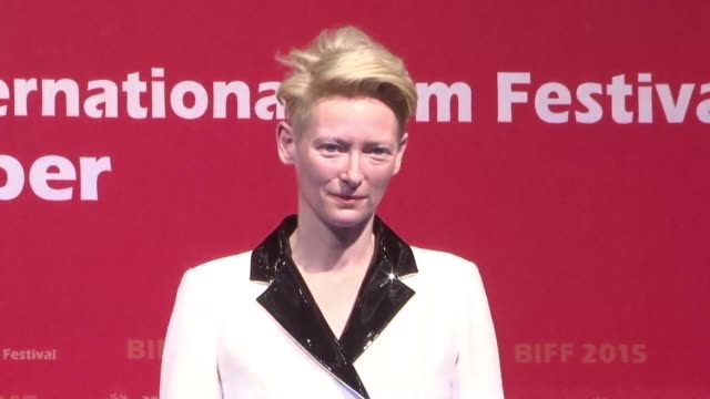 Tilda Swinton attends a press conference for the gala presentation of her film A Bigger Splash at the 20th Busan International Film Festival in South...