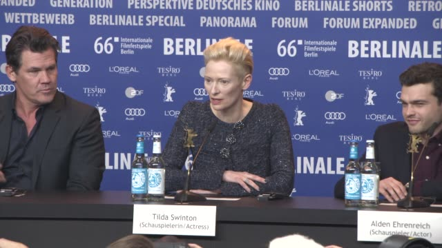 INTERVIEW Tilda Swinton on having fun in the making of the film at 'Hail Caesar' Press Conference 66th Berlin International Film Festival at Grand...
