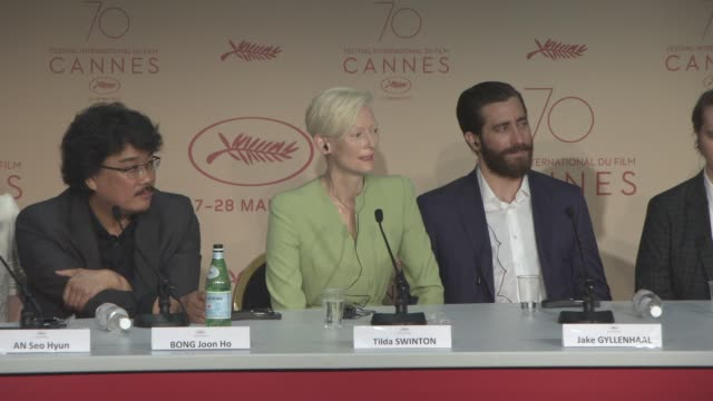 INTERVIEW Tilda Swinton on if she's experienced sexism working in the film industry at 'Okja' Press Conference at Palais des Festivals on May 19 2017...