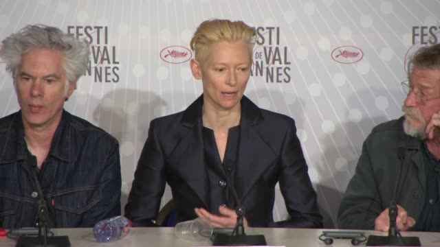 INTERVIEW Tilda Swinton Tom Hiddleston Jim Jarmusch on the aspect and habits of Vampires in the film at 'Only Lovers Left Alive' Press Conference on...