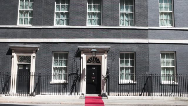 Tilt down exterior of number 10 Downing Street the official residence of David Cameron U K prime minister in London U K on Monday July 15 PAN L R...