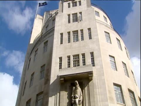 Tilt down facade of BBC Broadcasting House London