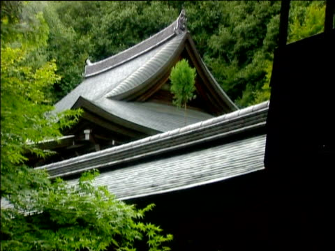 Tilt down from roof of pavilion at Ryoanji temple to covered walkway Kyoto