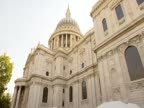 Tilt down from St Paul's Cathedral to anticapitalist protesters' tents