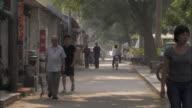 Tilt down from trees to people walking along street, Beijing.