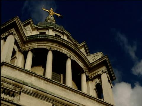 Tilt down over facade of Central Criminal Court The Old Bailey