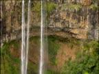 Tilt down over high waterfalls running over rocky outcrop Mauritius
