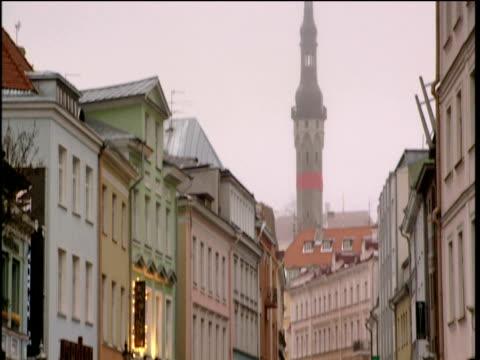 Tilt down over street in Old Town Talin Estonia