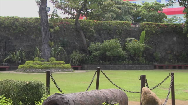 Tilt down reveal cannon Fort San Pedro Cebu Bohol Philippines