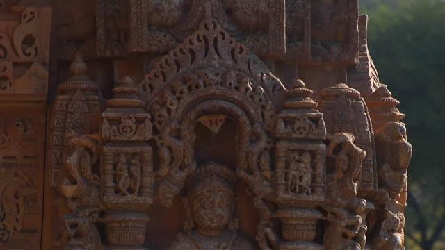 Tilt Down Shot Inscriptions Saas Bahu Temple Udaipur Rajasthan India