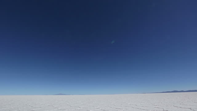 Tilt down shot of a Salt field in Bolivia