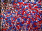 1988 tilt down to high angle balloons falling on crowd at Democratic National Convention / Atlanta Georgia