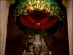 Tilt down Vishnu statue Angkor Wat temple Cambodia