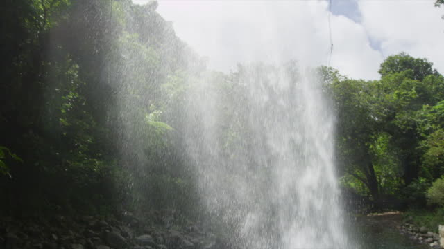 Tilt from waterfall, Lower Bouma Falls, from view inside of cave to cascading water making ripples